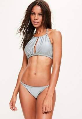 Missguided Grey Gathered Open Front Bikini Top - Mix & Match