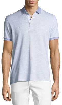 Ermenegildo Zegna Striped Linen-Blend Polo Shirt, Blue/White