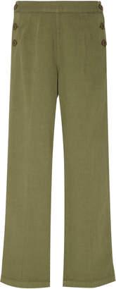 Current/Elliott Military Cropped Camp Wide Leg Cotton-Linen Pants