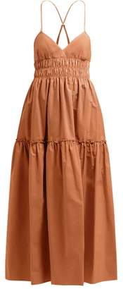 Three Graces London Emma Shirred Waist Cotton Midi Dress - Womens - Light Brown