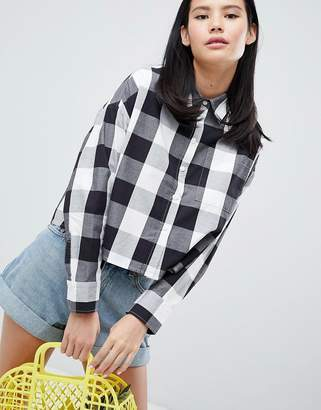Monki Gingham Print Shirt With Oversized Pocket