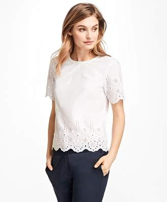 Brooks Brothers Floral Cutwork Cotton Blouse