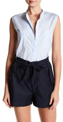 Vince Cropped Side Slit Button Up Tank