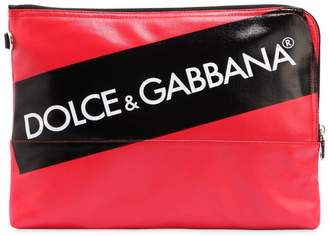Dolce & Gabbana Logo Tape Coated Canvas Pouch