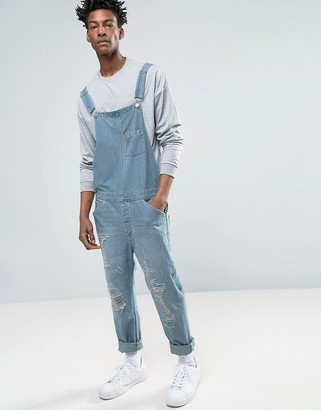 ASOS Denim Overalls In Vintage Light Blue With Rips $79 thestylecure.com