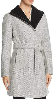 T Tahari Eva Tweed Slit Pocket Coat
