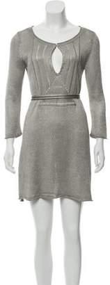 Calypso Metallic Knit Sweater Dress Silver Metallic Knit Sweater Dress