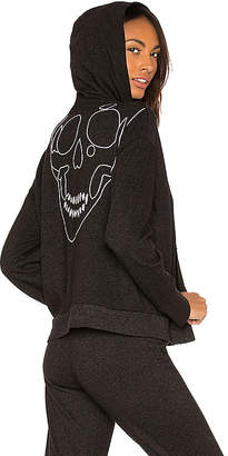 Monrow Oversized Skull Zip Up Hoodie