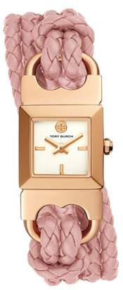 Tory Burch Gemini Link Square Leather Strap Watch, 18mm