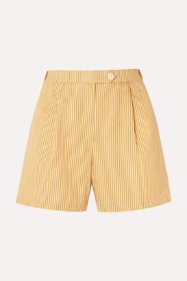 Tory Burch Striped Cotton Shorts - Pastel yellow