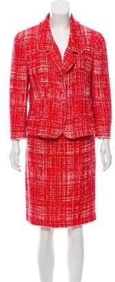 Prada Bouclé Tweed Knee-Length Skirt Suit