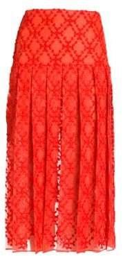 Fendi Pleated Midi Sangallo Organza Skirt