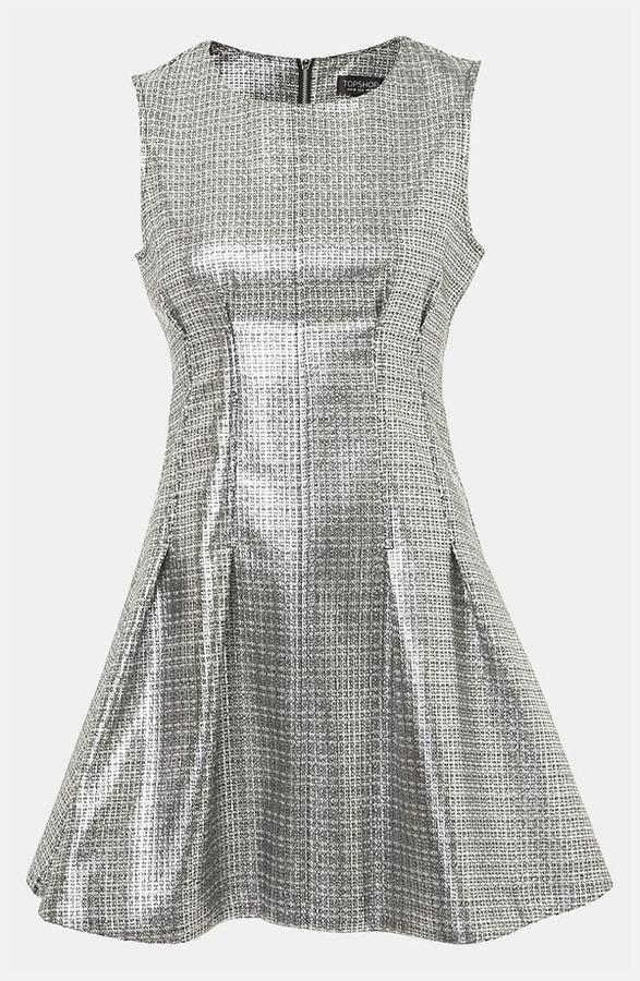 Topshop Sleeveless Metallic Shift Dress