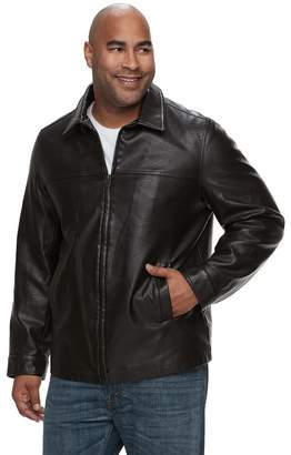 Dockers Big & Tall Open-Bottom Faux-Leather Car Coat