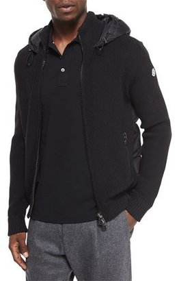 Moncler Quilted-Back Knit Jacket, Black $815 thestylecure.com
