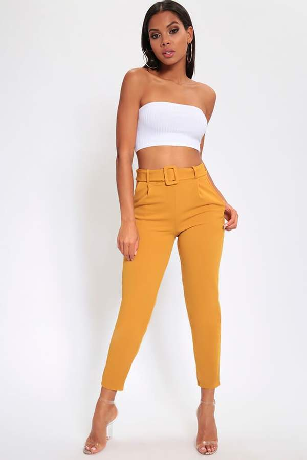 Isawitfirst Mustard Belted Cigarette Trousers