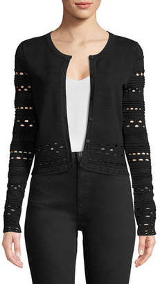 Milly Lace-Cutout Knit Cardigan