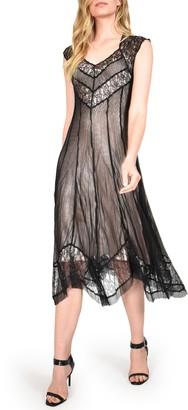 Komarov Vintage Rose Lace Inset Dress