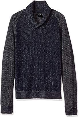 Armani Exchange A|X Men's Wool Blend Double Yard Dyed Shawl Collar Sweater