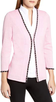 Ming Wang Chain Trim Jacquard Jacket