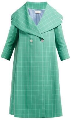 Sara Battaglia Double Breasted Windowpane Check Crepe Coat - Womens - Green White
