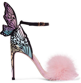 Sophia Webster Talulah Feather-trimmed Printed Patent-leather Sandals - Pink