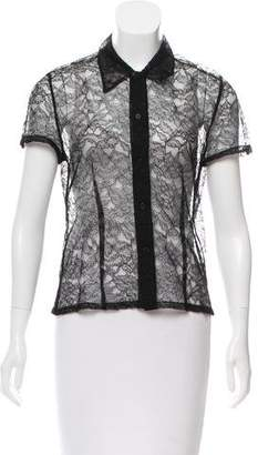 Calvin Klein Collection Short Sleeve Lace Top