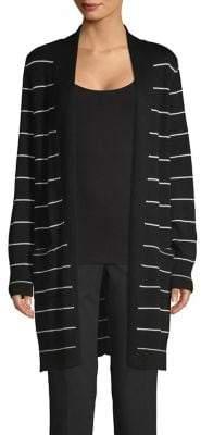 Joan Vass Striped Open Front Cardigan