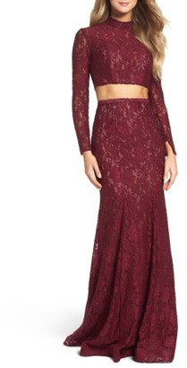 Women's La Femme Embellished Lace Two-Piece Gown $502 thestylecure.com