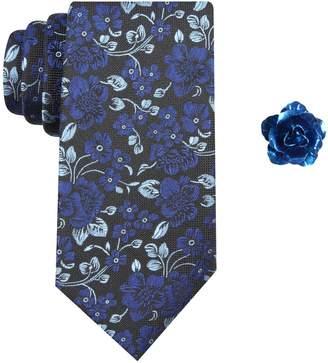 Haggar Men's Floral Tie & Lapel Pin Set