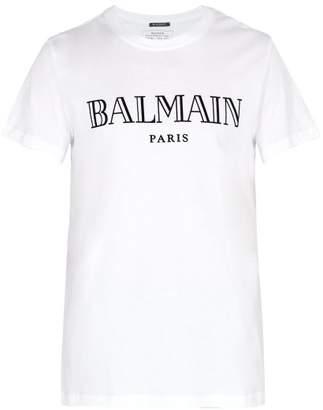 Balmain Logo Flocked Cotton Jersey T Shirt - Mens - White