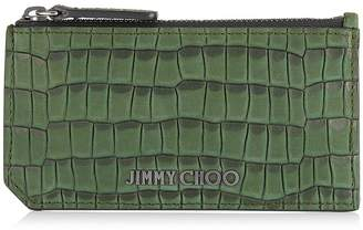 Jimmy Choo CONWAY Army Croc Printed Nubuck Card Holder