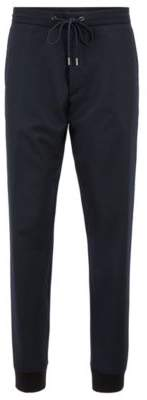 BOSS Hugo Relaxed-fit chinos in virgin-wool flannel cuffed hems 32R Open Blue