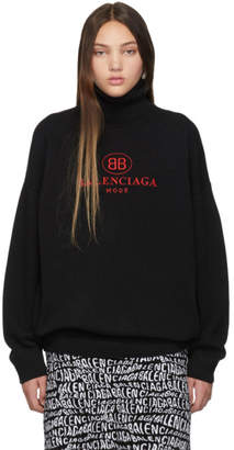 Balenciaga Black Wool and Cashmere Logo Turtleneck