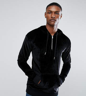 Asos Sixth June Hoodie With Half Zip In Black Velour exclusive to
