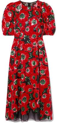 Dolce & Gabbana Floral-print Flocked Georgette Midi Dress - Red