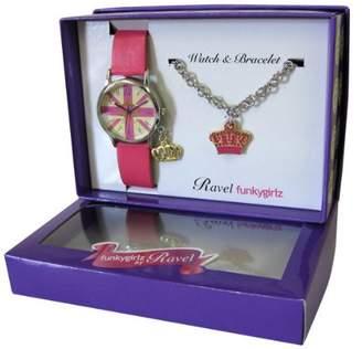 Ravel Girlz Watch and Bracelet Gift set Union Jack and Crown