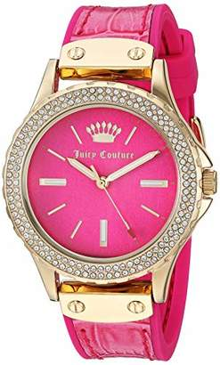 Juicy Couture Black Label Women's Swarovski Crystal Accented Gold-Tone and Hot Leather Strap Watch