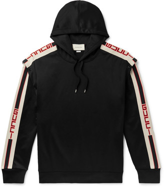 Gucci Webbing-Trimmed Tech-Jersey Hoodie - Men - Black