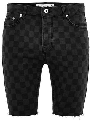 Topman Mens Black Laser Check Stretch Skinny Shorts