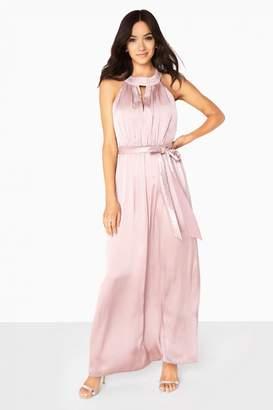 Little Mistress Bethany Keyhole Satin Maxi Dress