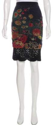 Fuzzi Lace-Accented Knee-Length Skirt