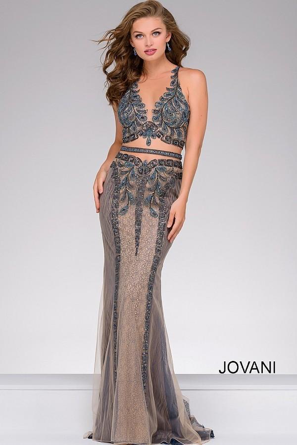 Jovani Embellished Long Sleeveless Prom Dress 41606