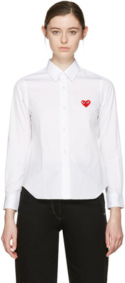 Comme des Garçons Play White Heart Patch Shirt $215 thestylecure.com