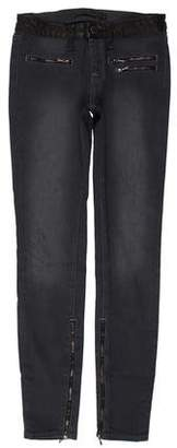 Victoria Beckham Mid-Rise Leather-Trimmed Jeans