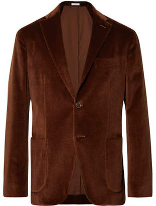 Boglioli Chocolate Unstructured Stretch-Cotton Velvet Blazer