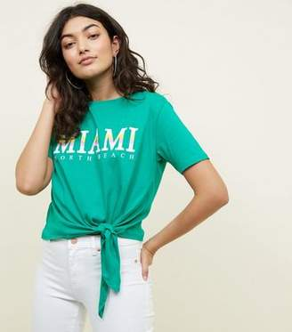 New Look Green Miami Slogan Tie Side T-Shirt