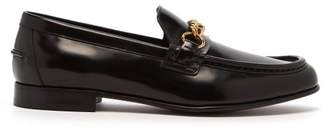 Burberry Solway Chain Strap Leather Loafers - Mens - Black
