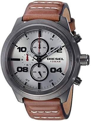 Diesel Men's DZ4438 Padlock Gunmetal IP Leather Watch