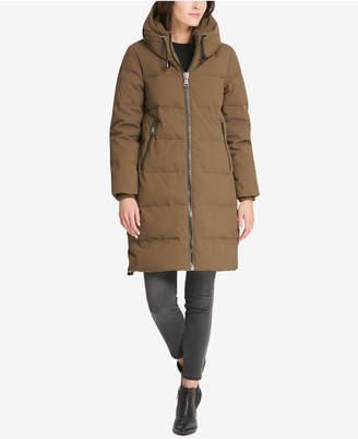 DKNY Hooded Cinch Bottom Cocoon Puffer Coat